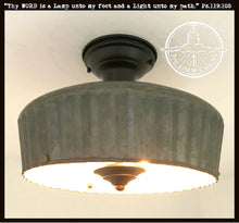 Load image into Gallery viewer, Corrugated Barn Metal - Medium Galvanized Ceiling Light Fixture - The Lamp Goods
