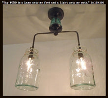Load image into Gallery viewer, Vintage Mason Jar Chandelier Duo with Teal Insulator - The Lamp Goods