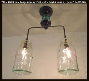 Vintage Mason Jar Chandelier Duo with Teal Insulator - The Lamp Goods