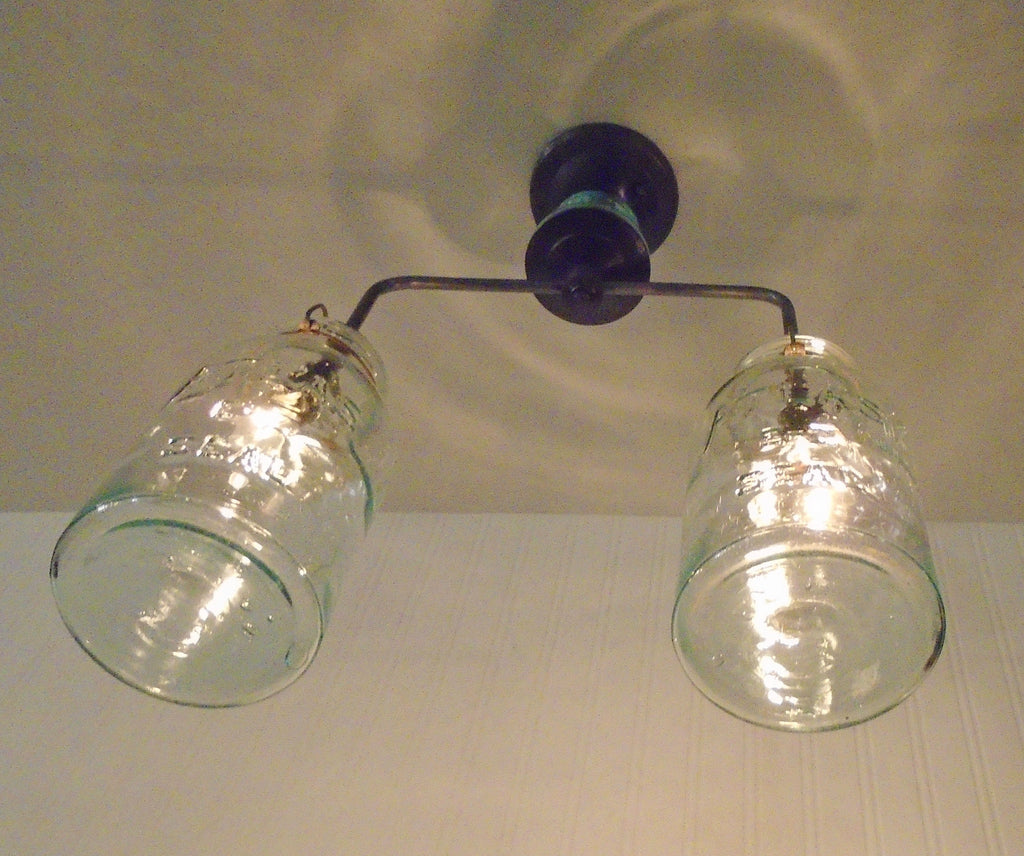 Vintage Mason Jar Chandelier Duo with Teal Insulator