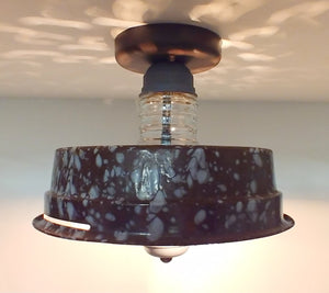 Vintage Speckled Enamel Ceiling Light
