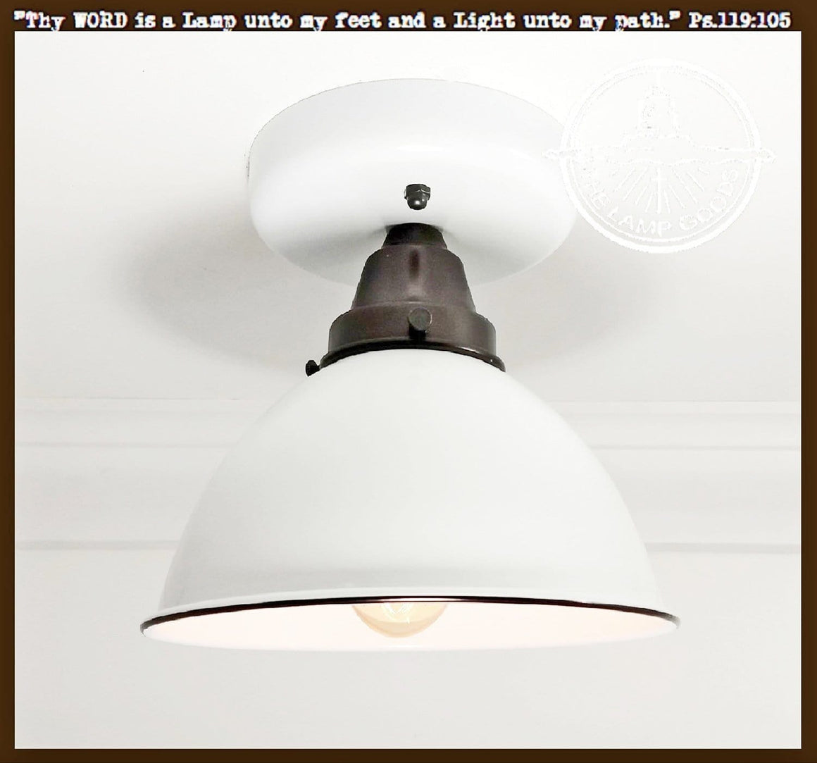 White Enamel Farmhouse Ceiling Light - The Lamp Goods