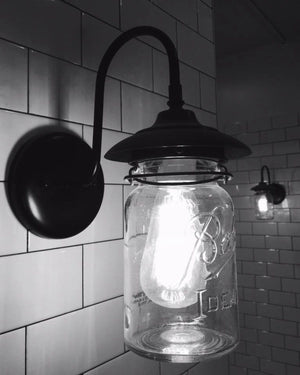 Exterior Outdoor Mason Jar Wall Sconce Light with Vintage Jar - The Lamp Goods