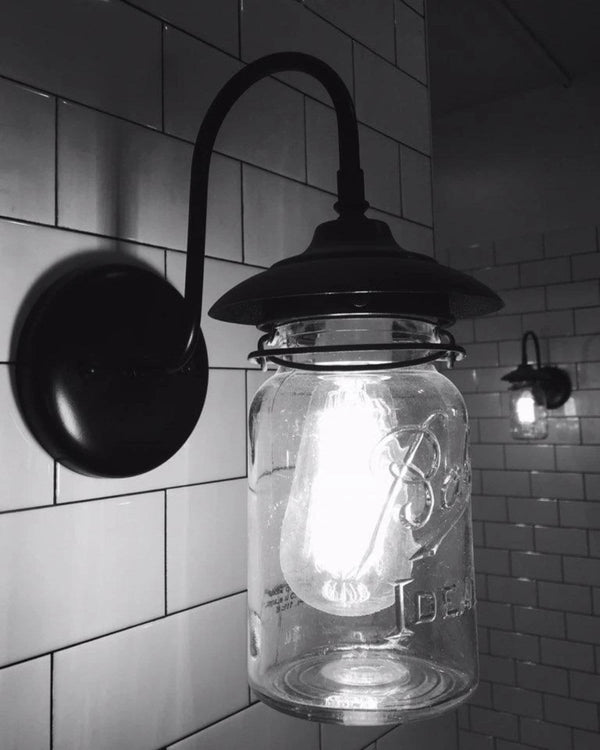 Exterior Outdoor Mason Jar Wall Sconce Light With Vintage