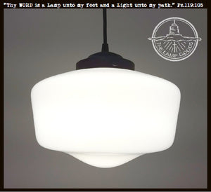 Vintage Farmhouse  Quality Milk Glass PENDANT Light - The Lamp Goods