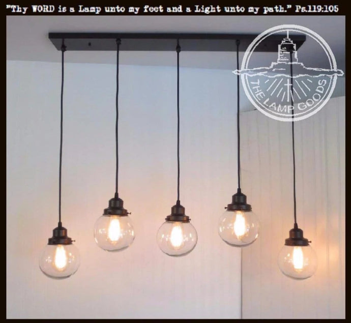 Biddeford II. CHANDELIER Pendant Lights 5-Light Globes - The Lamp Goods