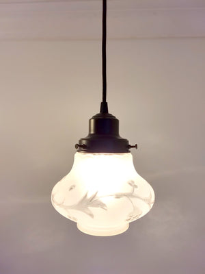 Embossed Vintage Frosted Glass PENDANT Light - The Lamp Goods