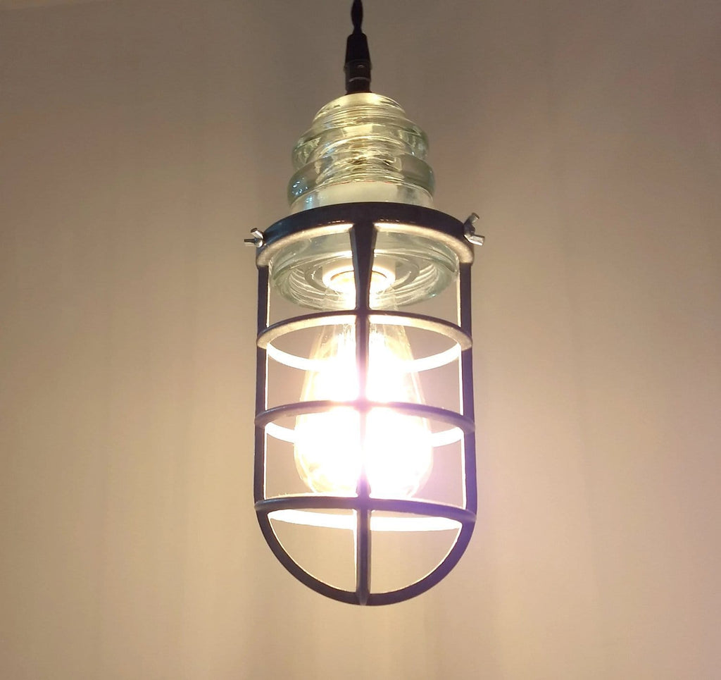 Vintage Insulator and Cage Pendant Light - The Lamp Goods