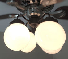 Load image into Gallery viewer, Ceiling Fan LIGHT KIT of Modern Milk Glass Globes - The Lamp Goods