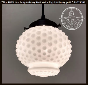 Vintage Hobnail Milk Glass Pendant Light Fixture - The Lamp Goods