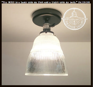 Vintage Holophane Industrial Factory Ceiling Light - The Lamp Goods