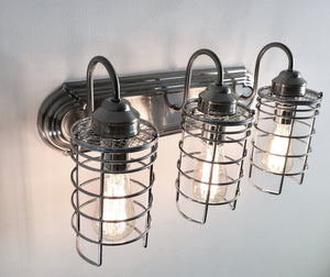 Industrial Wall Light Vanity Trio with Edison Bulbs - The Lamp Goods
