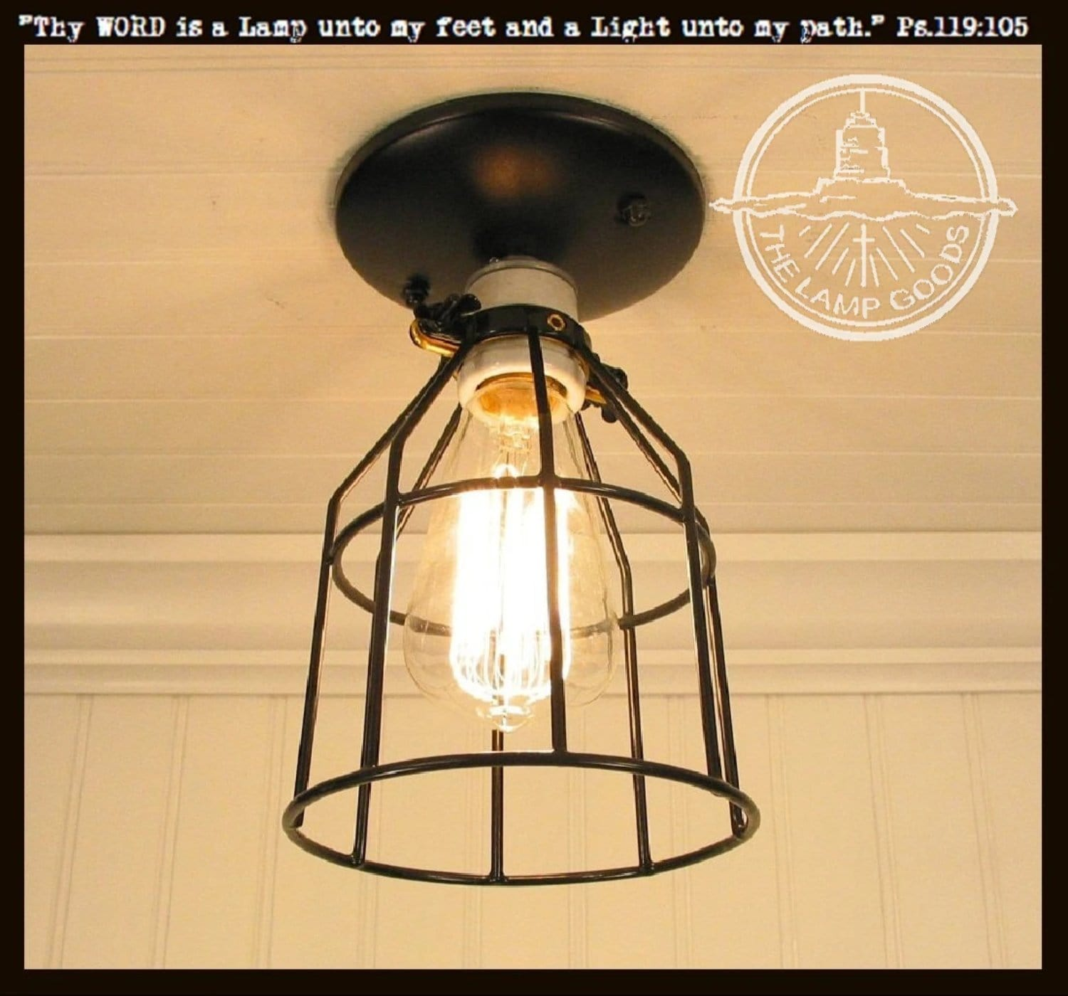 Industrial Cage Ceiling Light With Edison Bulb The Lamp Goods