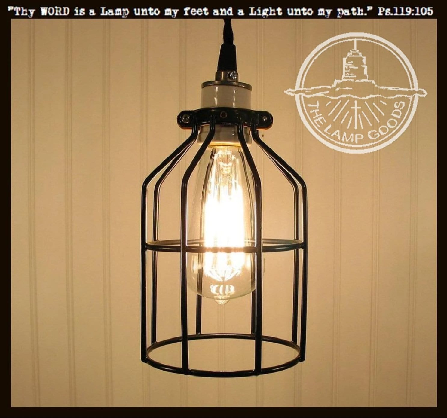 Load image into gallery viewer industrial cage pendant light with edison bulb the lamp