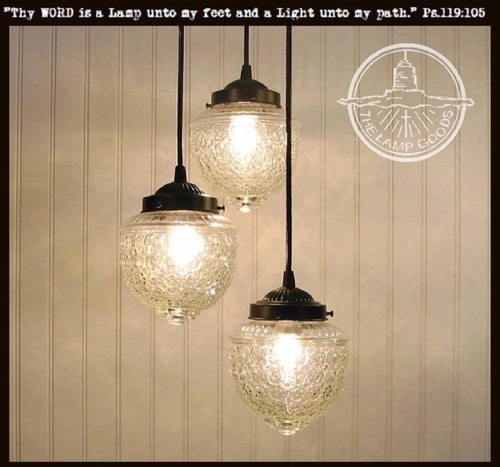 Island Falls II. Pendant CHANDELIER Light Trio - The Lamp Goods