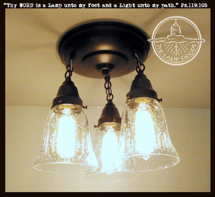 Kellie II. Seeded Glass Ceiling LIGHT Trio - The Lamp Goods