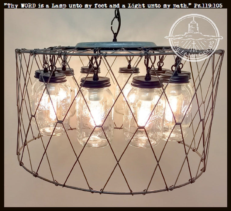 Extra Large Mason Jar CHANDELIER 10-Light Fixture