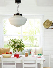 Load image into Gallery viewer, Milk Glass  Pendant Light Fixture - Large Schoolhouse Style - The Lamp Goods