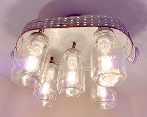Galvanized Mason Jar Ceiling Light with Olive Basket - The Lamp Goods