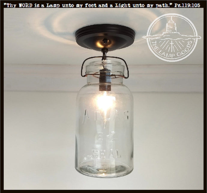 Mason Jar Vintage Atlas Half-Gallon Ceiling LIGHT - The Lamp Goods