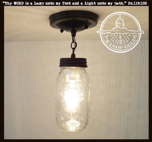 Mason Jar Ceiling LIGHT With Chain & NEW Quart