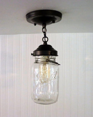 Mason Jar Ceiling LIGHT With Chain & VINTAGE Quart - The Lamp Goods