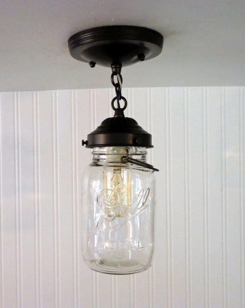 Mason Jar Ceiling LIGHT With Chain & VINTAGE Quart - Mason Jar Light Fixture - The Lamp Goods - 3