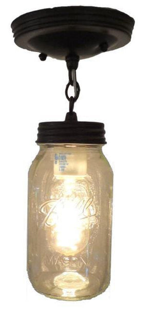 Mason Jar Ceiling LIGHT With Chain & NEW Quart - The Lamp Goods