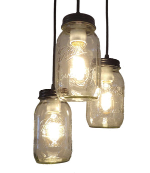 Mason Jar 3-Light CHANDELIER Trio New Quarts - The Lamp Goods