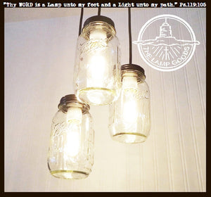 Mason Jar 3-Light CHANDELIER Trio New Quarts