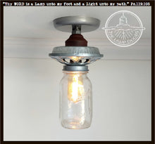 Load image into Gallery viewer, Galvanized Metal Chicken Feeder with Mason Jar Light - The Lamp Goods