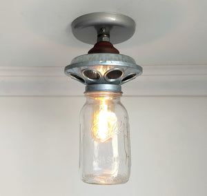 Galvanized Metal Chicken Feeder with Mason Jar Light - The Lamp Goods
