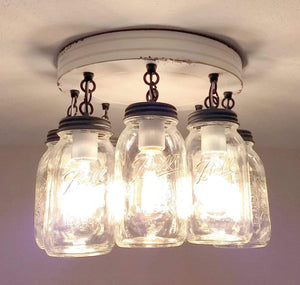 Enamelware White Mason Jar Ceiling Light - The Lamp Goods