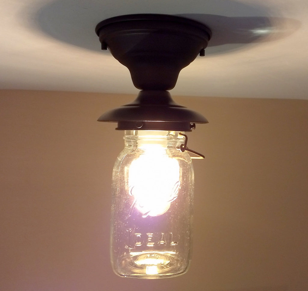 Mason Jar Exterior PORCH Ceiling Light Fixture with Vintage Jar