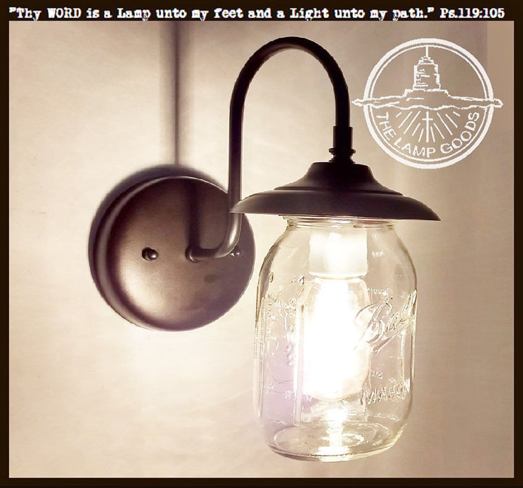 Mason Jar EXTERIOR Porch Wall SCONCE Light Ball Jar