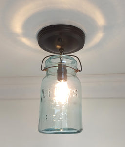 "Mason Jar Ceiling LIGHT Vintage ""ATLAS"" - Green - The Lamp Goods"