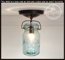 "Load image into Gallery viewer, Mason Jar Ceiling LIGHT Vintage ""ATLAS"" - Green - The Lamp Goods"