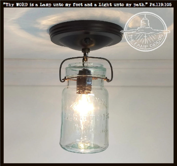 Mason Jar Ceiling LIGHT Vintage Lightning - Green - The Lamp Goods