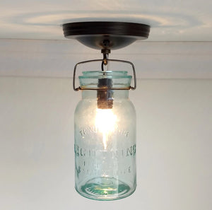 Mason Jar Ceiling LIGHT Lightning Green Brand Vintage Quart - The Lamp Goods