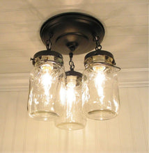 Load image into Gallery viewer, Mason Jar LIGHT FIXTURE Vintage Quart Trio - The Lamp Goods