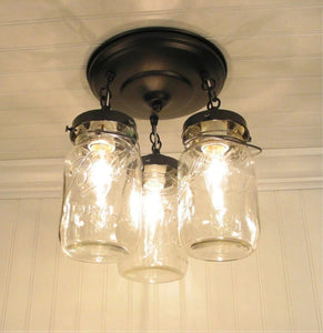 Mason Jar LIGHT FIXTURE Vintage Quart Trio - The Lamp Goods