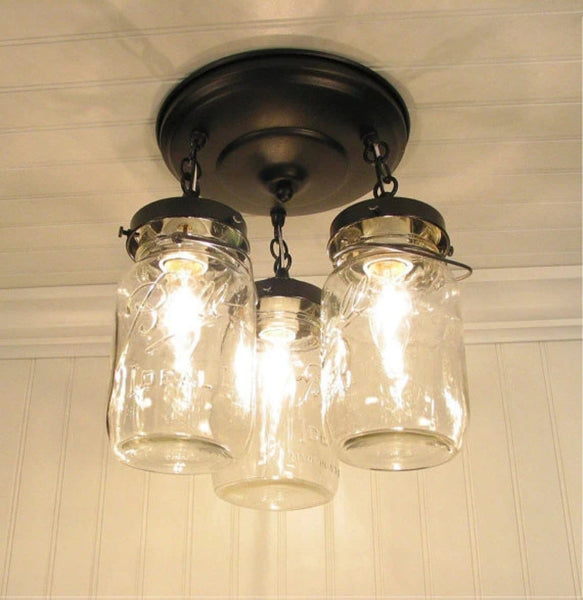 Mason Jar LIGHT FIXTURE Vintage Quart Trio - Mason Jar Light Fixture - The Lamp Goods - 5