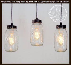 Mason Jar CHANDELIER Trio Rectangular with NEW Quart - The Lamp Goods