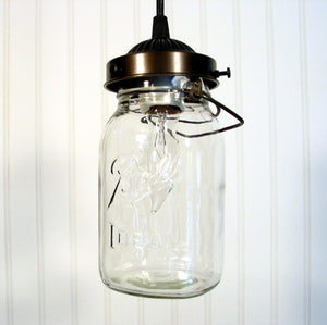 Mason Jar PENDANT Light Vintage Quart - The Lamp Goods