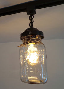 A Mason Jar TRACK LIGHT of 3 Vintage Quarts - The Lamp Goods