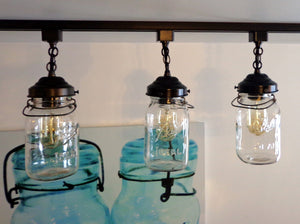 Mason Jar Track Light SINGLE Vintage Quart - The Lamp Goods