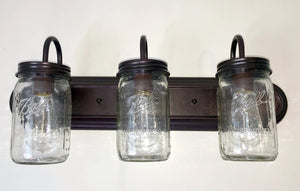 Mason Jar Bathroom VANITY Wide Mouth 3-Light Clear - The Lamp Goods