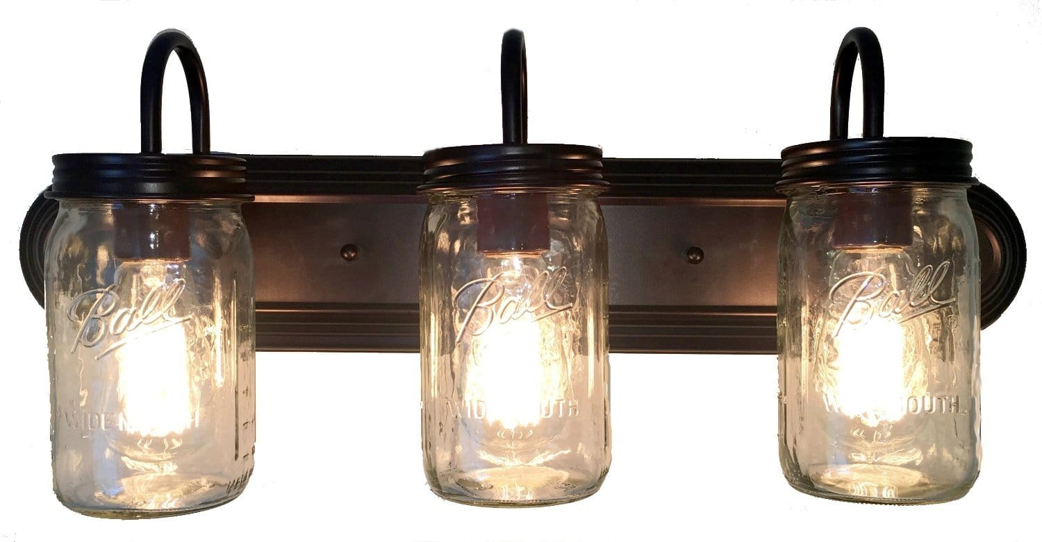 Mason Jar Vanity Light Bathroom Wall Sconce Lighting