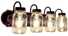 Load image into Gallery viewer, Mason Jar Vanity Light NEW Quart 4-Light - The Lamp Goods