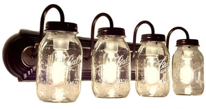Mason Jar Vanity Light NEW Quart 4-Light - The Lamp Goods